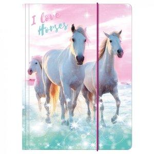 Teczka rysunkowa A4 z gumką I LOVE HORSES Konie (TGA4KO22)