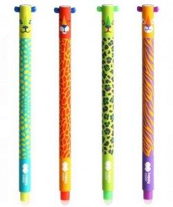 4x Długopis USZAKI WILD wymazywalny żelowy 0,5 mm HAPPY COLOR (42751)