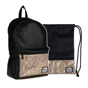 ZESTAW 2 el. Plecak HASH czarny z ozdobną kieszenią, FANCY (502020070SET2CZ)