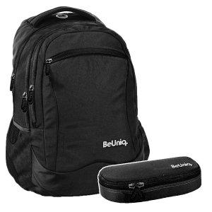 ZESTAW 2 el. Plecak szkolny młodzieżowy czarny, BLACK Paso (PPBK20-2808SET2CZ)