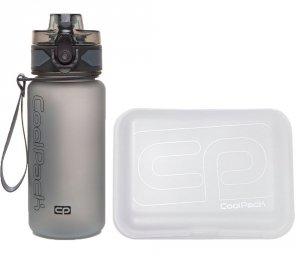 Zestaw bidon i śniadaniówka CoolPack BRISK MINI FROZEN white/gray (93491CP+95228)