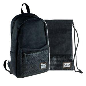 ZESTAW 2 el. Plecak HASH czarna przeplatanka, BLACK ANGE (502020102SET2CZ)