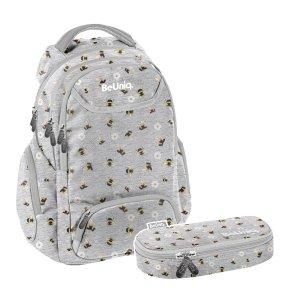 ZESTAW 2 el. Plecak szkolny młodzieżowy pszczółki, BEE Paso (PPEE20-2908/16SET2CZ)
