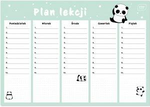 Plan lekcji A4 Girls PANDA PANDY (97617)
