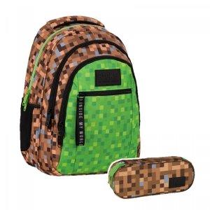 ZESTAW 2 el. Plecak szkolny młodzieżowy BackUP 26 L GAME dla fana gry MINECRAFT (PLB4O68SET)