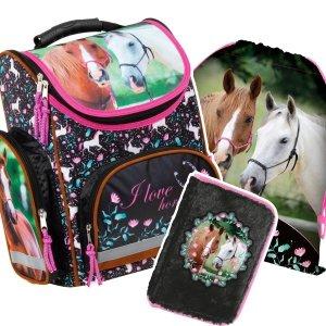 ZESTAW 3 el. Tornister szkolny ergonomiczny I LOVE HORSES Konie (TEMBKO20SET3CZ)