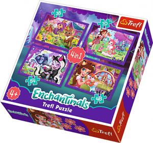 TREFL Puzzle 4 w 1 Enchantimals, Zabawa z pupilami (34305)