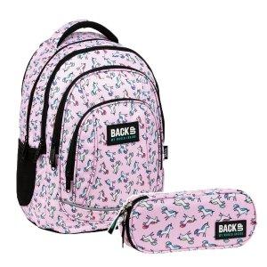 ZESTAW 2 el. Plecak szkolny młodzieżowy BackUP 26 L jednorożce, UNICORN PASTELE (PLB3A70SET2CZ)
