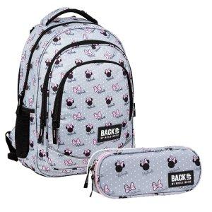 ZESTAW 2 el. Plecak szkolny młodzieżowy BackUP 26 L Myszka Minnie, MINNIE SZARY (PLB3XMM60SET2CZ)