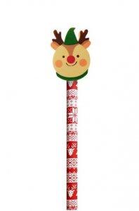 Ołówek świąteczny INCOOD. z dużą  gumką RENIFER (0088-0056)