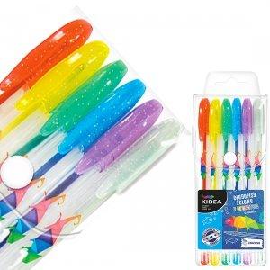 KIDEA Długopisy żelowe 6 kolorów Brokatowe Zapachowe (DZB6CKA)