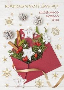 Kartka świąteczna BOŻE NARODZENIE 12 x 17 cm + koperta (47522)