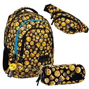 ZESTAW 3 el. Plecak szkolny młodzieżowy BackUP 26 L Emoji EMOTIKONY (PLB3XEM61SET3CZ)