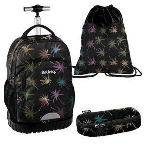 ZESTAW 3 el. Plecak szkolny, młodzieżowy na kółkach palmy, PALM TREE Paso (PPPL20-1231SET3CZ)