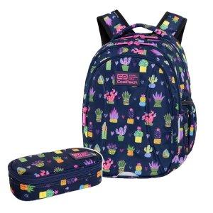 ZESTAW 2 el. Plecak wczesnoszkolny CoolPack JOY S 21L kaktusy, CACTUS (C48237SET2CZ)