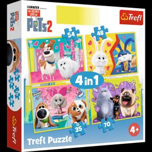 TREFL Puzzle 4 w 1 Sekretne życie zwierząt (34319)