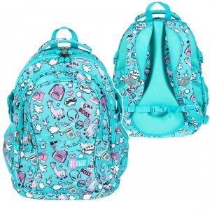 Plecak szkolny młodzieżowy ST.RIGHT w pastelowe lamy, PASTEL LAMAS BP1 (26708)