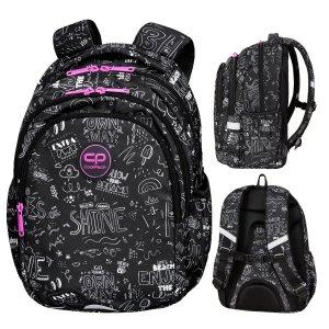 Plecak wczesnoszkolny CoolPack JERRY 21 L szare napisy, B&W SCRIBBLE (D029325)
