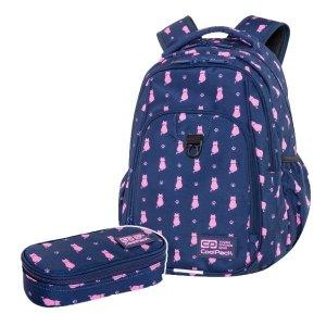 ZESTAW 2 el. Plecak CoolPack STRIKE L 27 L kotki, NAVY KITTY (C18240SET2CZ)
