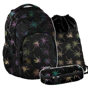 ZESTAW 3 el. Plecak szkolny młodzieżowy PALM TREE, palmy Paso (PPPL20-2706SET3CZ)