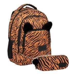 ZESTAW 2 el. Plecak szkolny młodzieżowy BackUP 26 L TYGRYS z uszami (PLB3YA18SET2CZ)