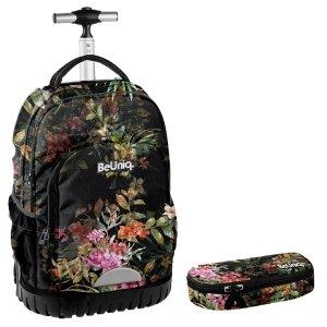 ZESTAW 2 el. Plecak szkolny, młodzieżowy na kółkach kwiaty, FLOWERS Paso (PPRS20-1231SET2CZ)