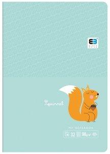 Zeszyt A5 w kolorową linię 16 kartek B&B SQUIRREL wiewiórka (55563)