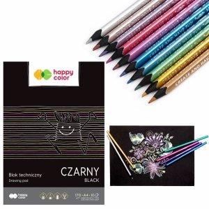 Zestaw małego artysty kredki metaliczne KIDEA + blok czarny Happy Color (KMT10KASET2CZ)