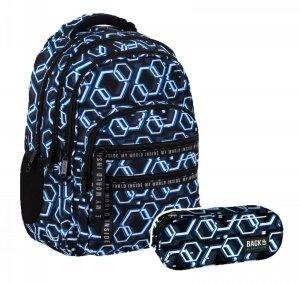 ZESTAW 2 el. Plecak szkolny młodzieżowy BackUP 28 L ONLINE (PLB4M53SET2CZ)