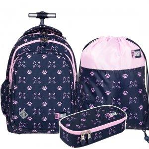 ZESTAW 3 el. Plecak szkolny młodzieżowy na kółkach ST.RIGHT w kocie łapki, CATS & PAWS TB1 (27347SET3CZ)