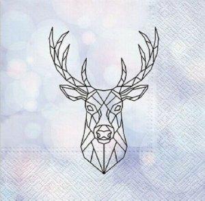 Serwetki dekoracyjne Geometric Deer JELEŃ 33x33 cm (SDL015600)