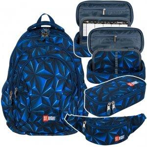ZESTAW 3 el. Plecak szkolny młodzieżowy ST.RIGHT granatowa abstrakcja 3D, 3D NAVY ABSTRACTION BP2 (25671SET3CZ)
