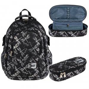 ZESTAW 2 el. Plecak szkolny młodzieżowy ST.RIGHT w ważki, DRAGONFLIES BP1 (27521SET2CZ)