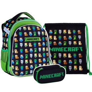ZESTAW 3 el. Tornister plecak szkolny MINECRAFT (502020100SET3CZ)