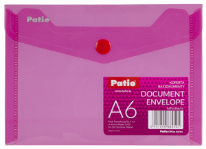 Teczka koperta transparentna na dokumenty A6 PATIO różowa (PAT6133A/N/14)