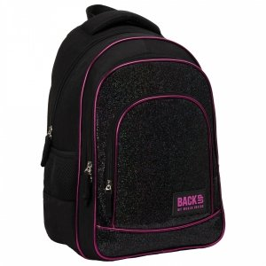 Plecak szkolny młodzieżowy BackUP 26 L brokatowy, CZARNY (PLB3YA56)