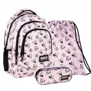 ZESTAW 3 el. Plecak szkolny młodzieżowy BackUP 26 L Myszka Minnie, MINNIE PASTELLE (PLB4X39SET3CZ)