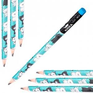 Ołówek szkolny trójkątny gruby z gumką HB JUMBO UROCZE ZWIERZĄTKA Kidea (OTGNKA)