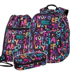 ZESTAW 3 el. Plecak CoolPack DISCOVERY 27 L alfabet, ALPHABET (C38236SET3CZ)
