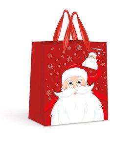 4x Torebka świąteczna na prezent MIKOŁAJ LASKA ŚWIĄTECZNA RENIFERKI CHOINKI Interdruk (92285)
