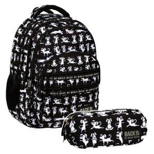 ZESTAW 2 el. Plecak szkolny młodzieżowy BackUP 28 L PSY JOGA (PLB3M34SET2CZ)