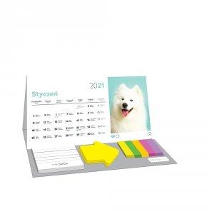 Kalendarz na biurko 2021 PUPPY z karteczkami INTERDRUK (74052)