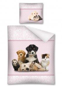 Komplet pościeli pościel SWEET ANIMALS Pies Kot Psy Koty 140 x 200 cm (2803)