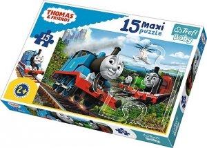 TREFL Puzzle 15 Maxi Tomek i przyjaciele, Pędzące lokomotywy (14283)