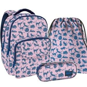 ZESTAW 3 el. Plecak szkolny młodzieżowy BackUP KOTY (PLB2L18SET3CZ)