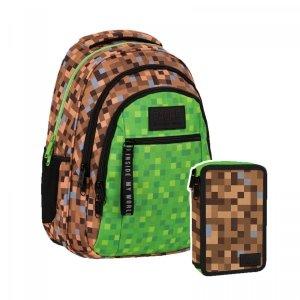 ZESTAW 2 el. Plecak szkolny młodzieżowy BackUP 26 L GAME dla fana gry MINECRAFT (PLB4O68SET2CZ)