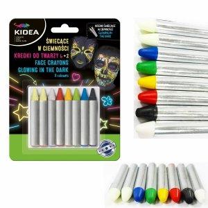 Kredki do malowania twarzy świecące w ciemności 8  kolorów KIDEA (KDT8SKA)
