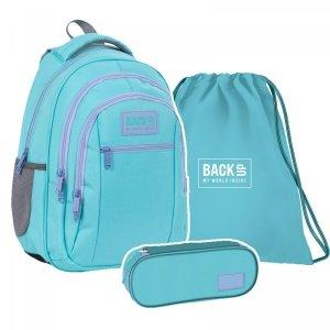 ZESTAW 3 el. Plecak szkolny młodzieżowy BackUP 26 L PASTELOWY TURKUS (PLB4O38SET3CZ)