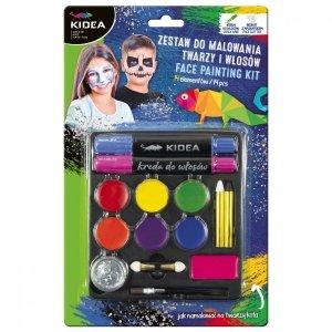 Zestaw do malowania twarzy i włosów 14 elementów KIDEA (ZMTW14KA)