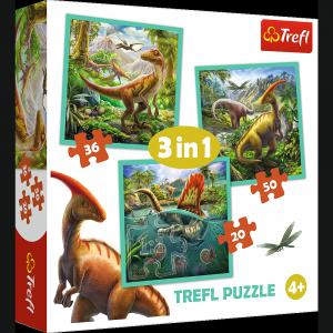 TREFL Puzzle 3 w 1 Niezwykły świat dinozaurów (34837)
